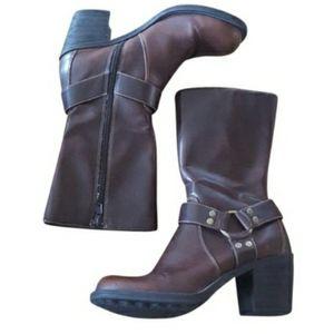 Candies - Vintage Brown Burnished Moto Boots